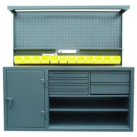 Cabinet Workstation, Steel Top, W 72, H 72