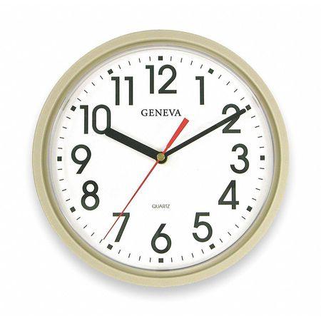 "9-1/2"" Analog Quartz Wall Clock,  Putty"