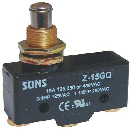 Snap Swch, 15A, 1 NO, 1 NC, Panel Mt Plunger