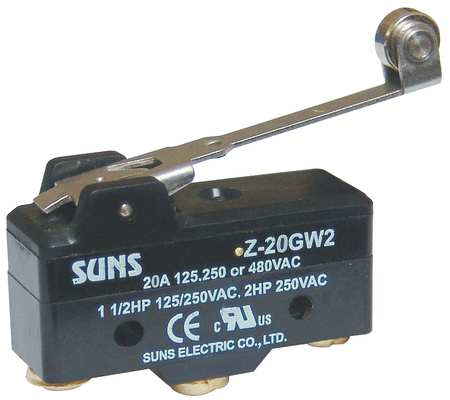 Swch, 20A, 1 NO, 1 NC, Hinge Roller Lever