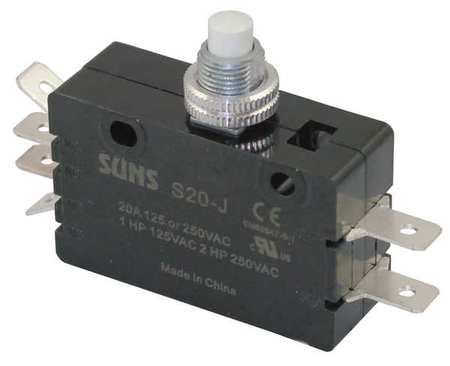 Snap Swch, 20A, 2 NO, 2 NC, Panel Mt Plunger