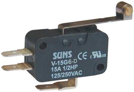 Mini Swch, 15A, 1 NO, 1 NC, Lng Roller Lever