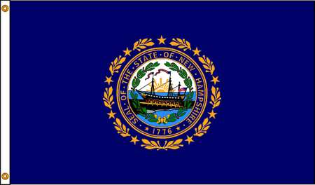 New Hampshire Flag, 5x8 Ft, Nylon
