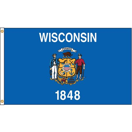 Wisconsin Flag, 5x8 Ft, Nylon