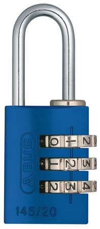Combination Padlock, Side, Blue/Silver