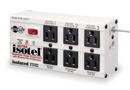 Datacom Surge Protector, 6 Outlet, Gray
