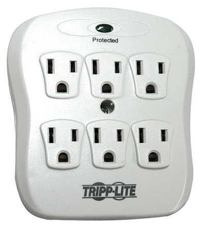 Surge Protector, 15A, 6 Outlet, Light Gray