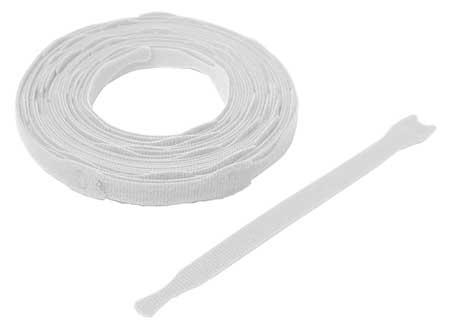 "3/4"" W x 8"" L Hook-and-Loop White One-Wrap Perforated Fastener Strap,  45 pk."