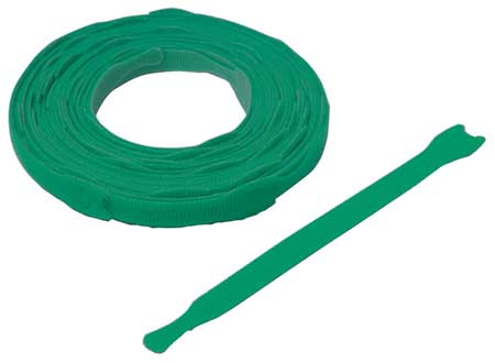 "3/4"" W x 8"" L Hook-and-Loop green One-Wrap Perforated Fastener Strap,  45 pk."