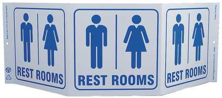 Restroom Sign, 7-1/2 x 20In, BL/WHT, ENG