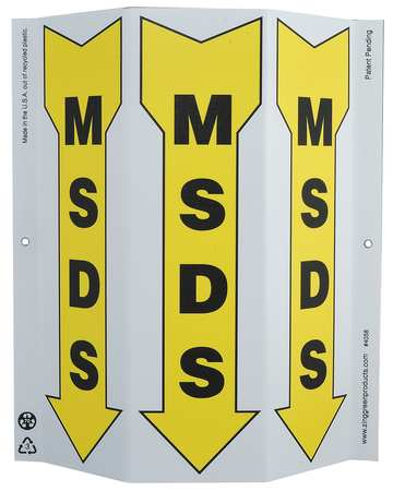 Information Sign, 12 x 9In, BK/YEL, MSDS