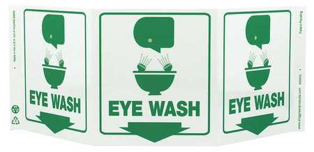 Eye Wash Sign, 7-1/2 x 20In, GRN/WHT, ENG