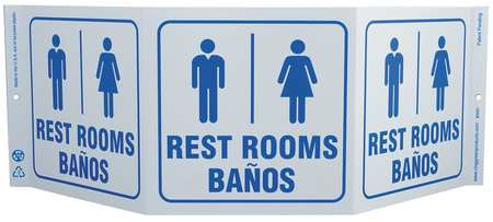 Restroom Sign, 7-1/2 x 20In, BL/WHT