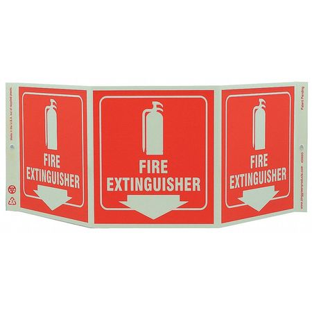 Fire Extinguisher Sign, 7-1/2 x 20In, FEXT