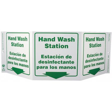 Hand Wash Sign, 7-1/2 x 20In, GRN/WHT