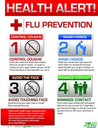Safety Poster, 22 x 16In, Flu Prevention