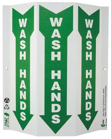 Notice Sign, 12 x 9In, GRN/WHT, Wash Hands