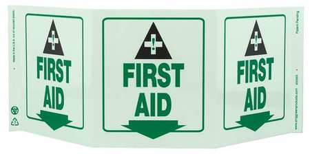 First Aid Sign, 7 1/2 x 20In, GRN/WHT, ENG