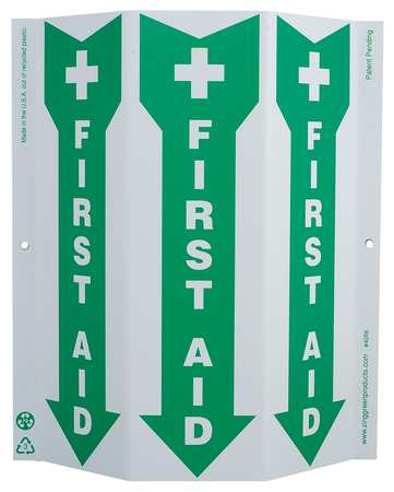 First Aid Sign, 12 x 9In, GRN/WHT, ENG