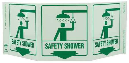 Safety Shower Sign, 7-1/2 x 20In, GRN/WHT