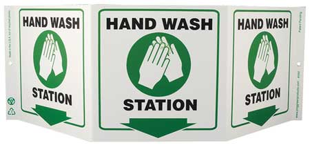 Hand Wash Sign, 7-1/2 x 20In, HD Wash STA