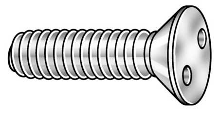 "1/4-20 x 2"" Flat Head Spanner Tamper Resistant Screw,  25 pk."