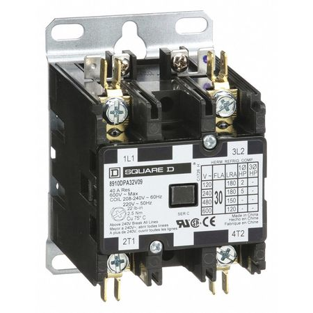 208/240VAC Non-Reversing Definite Purpose Contactor 2P 30A