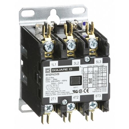 208/240VAC Non-Reversing Definite Purpose Contactor 3P 30A
