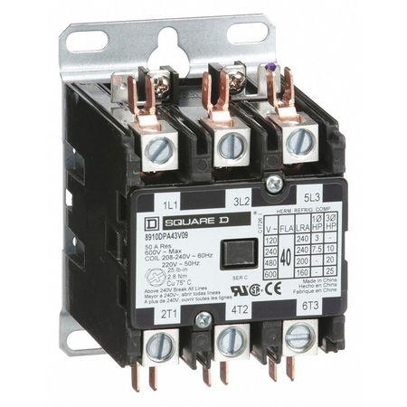 208//240VAC Non-Reversing Definite Purpose Contactor 3P 40A SQUARE D 8910DPA43V09