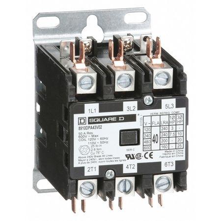 120VAC Non-Reversing Definite Purpose Contactor 3P 40A