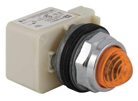 Pilot Light, LED, 12V, 30mm, Chrome, Amber