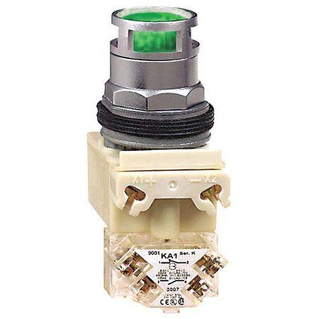 Illuminated Push Button, 30mm, Green, 6VAC