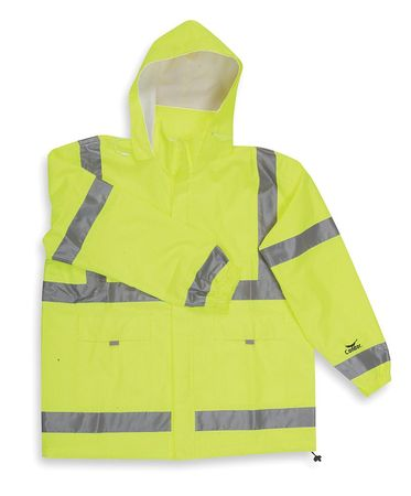 Rain Jacket Hood, Hi-Vis YelloGrn, 4XL