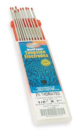 Electrode, Heliarc Tungsten, 1/8 In., PK10