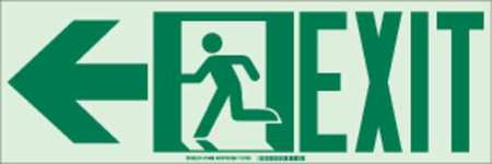Fire Exit Sign, 7 x 21In, GRN/WHT, Exit, ENG