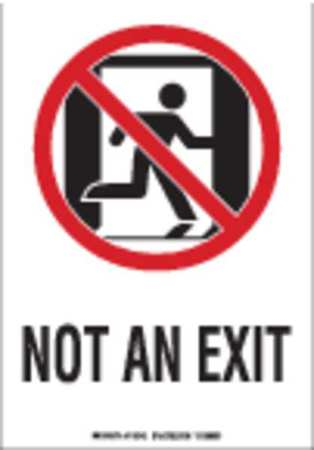 Fire Exit Sign, 10 x 7In, R and BK/WHT, ENG