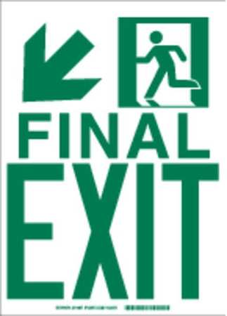 Fire Exit Sign, 14 x 10In, GRN/WHT, ENG