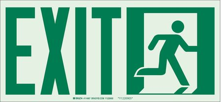Fire Exit Sign, 7 x 15In, GRN/WHT, Exit, ENG