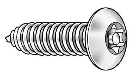 Tamper Screw, Button, #6, 1/2 L, PK25