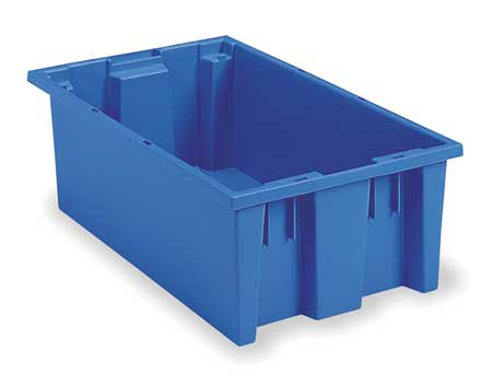 Nest and Stack Container, 18 in. L, Blue,  Min. Qty 6