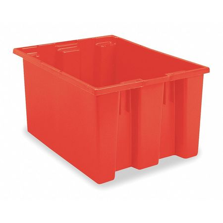 Nest and Stack Container, 23-1/2 in L, Red,  Min. Qty 3