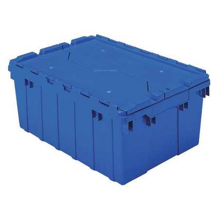 Attached Lid Container,  1.12 cu ft.,  Blue