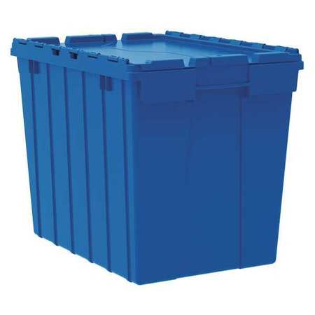 Attached Lid Container, 2.28 cu ft, Blue