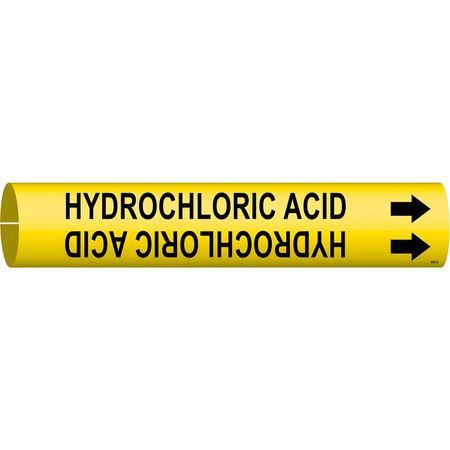 Pipe Marker, Hydrochloric Acid, Y, 4 to6 In