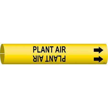 Pipe Marker, Plant Air, Y, 2-1/2 to3-7/8 In
