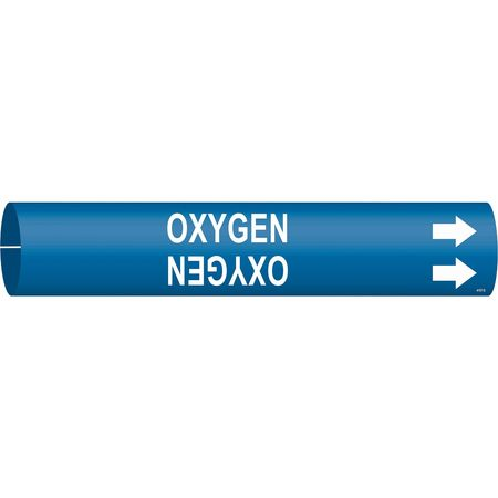 Pipe Marker, Oxygen, Blue, 4 to 6 In