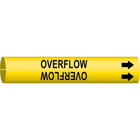 Pipe Marker, Overflow, Y, 2-1/2 to3-7/8 In