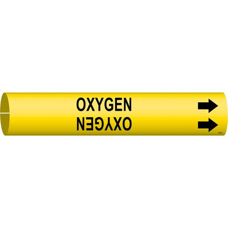 Pipe Marker, Oxygen, Yellow, 4 to 6 In