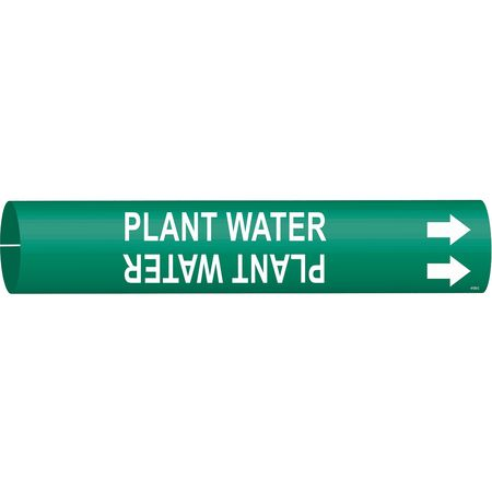 Pipe Marker, Plant Water, 2-1/2to3-7/8 In