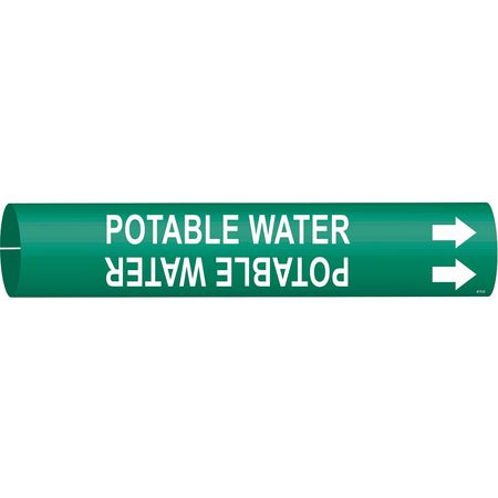 Pipe Marker, Potable Water, Grn, 4 to 6 In